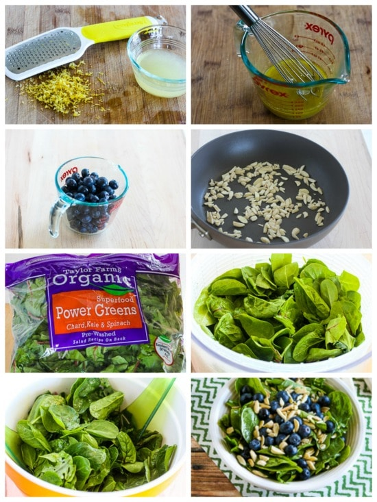 Power Greens Salad with Blueberries and Almonds process shots collage