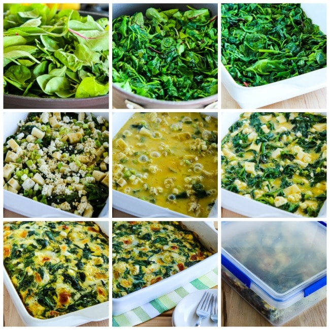 Low-Carb Power Greens Breakfast Casserole with Feta and Mozzarella process shots collage