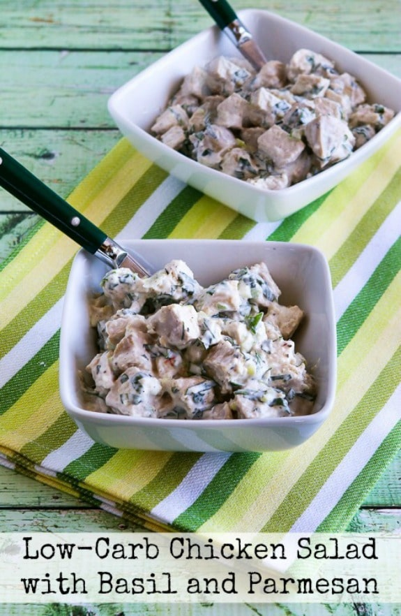Low-Carb Chicken Salad with Basil and Parmesan found on KalynsKitchen.com