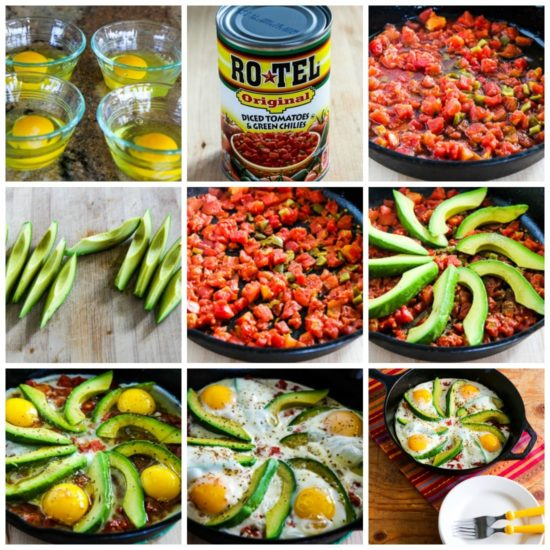 Baked Eggs Skillet with Avocado and Spicy Tomatoes process shots collage