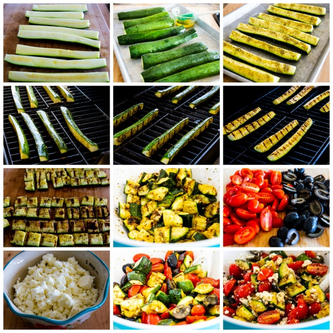 Process photos for Grilled Zucchini Greek Salad