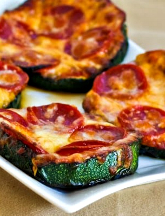 Grilled Zucchini Pizza Slices from KalynsKitchen.com