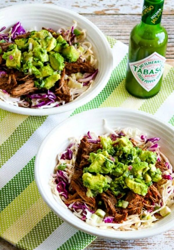 Green Chile Shredded Beef Cabbage Bowl with Avocado Salsa (Slow Cooker or Pressure Cooker) found on KalynsKitchen.com