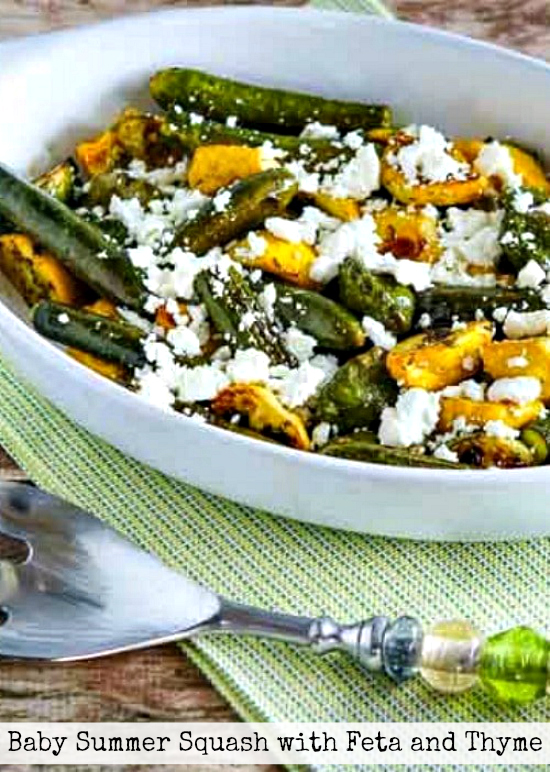 Baby Summer Squash with Feta and Thyme finished dish with title