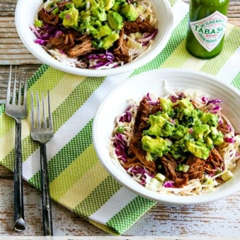 Green Chile Shredded Beef Cabbage Bowl with Avocado Salsa (Slow Cooker or Pressure Cooker)