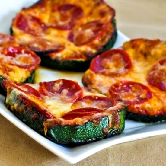 Grilled Zucchini Pizza Slices found on KalynsKitchen.com