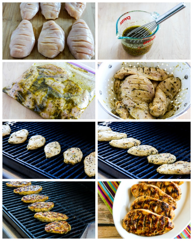Step-by-Step-Photos for Garlic, Lemon, and Herb Grilled Chicken Breasts found on KalynsKitchen.com