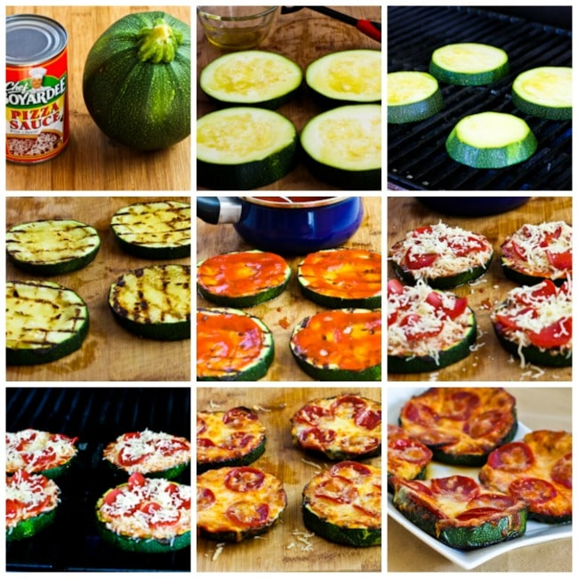 Grilled Zucchini Pizza Slices process shots collage