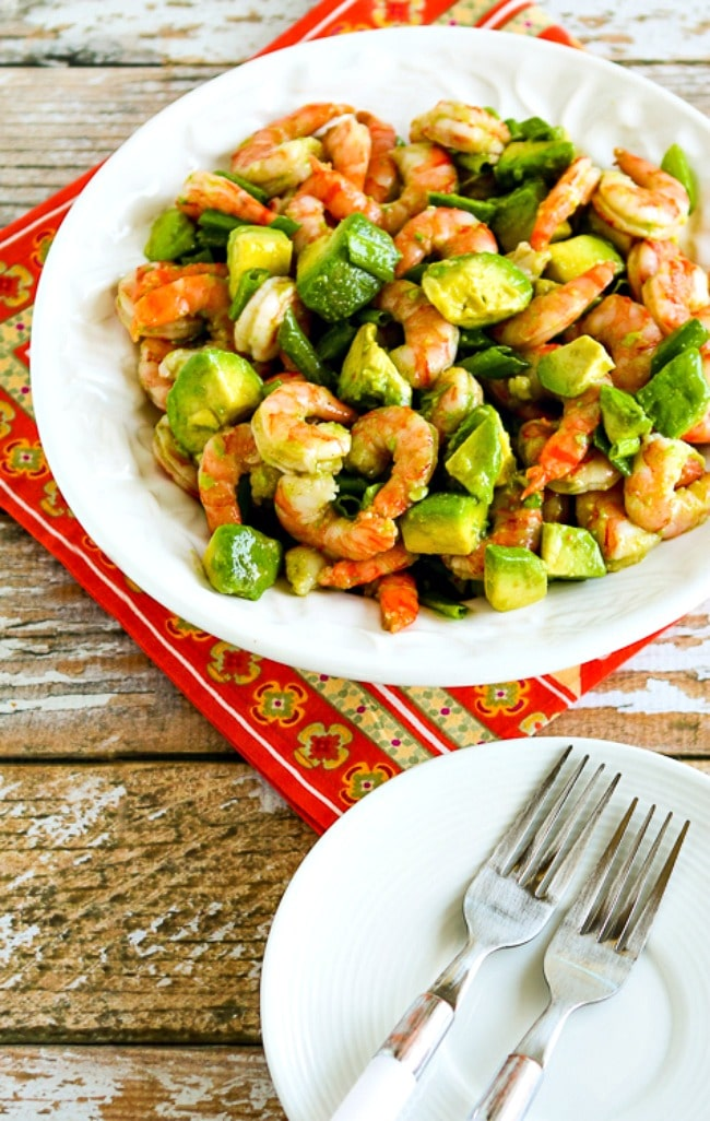 Shrimp and Avocado Salad finished salad with serving plates
