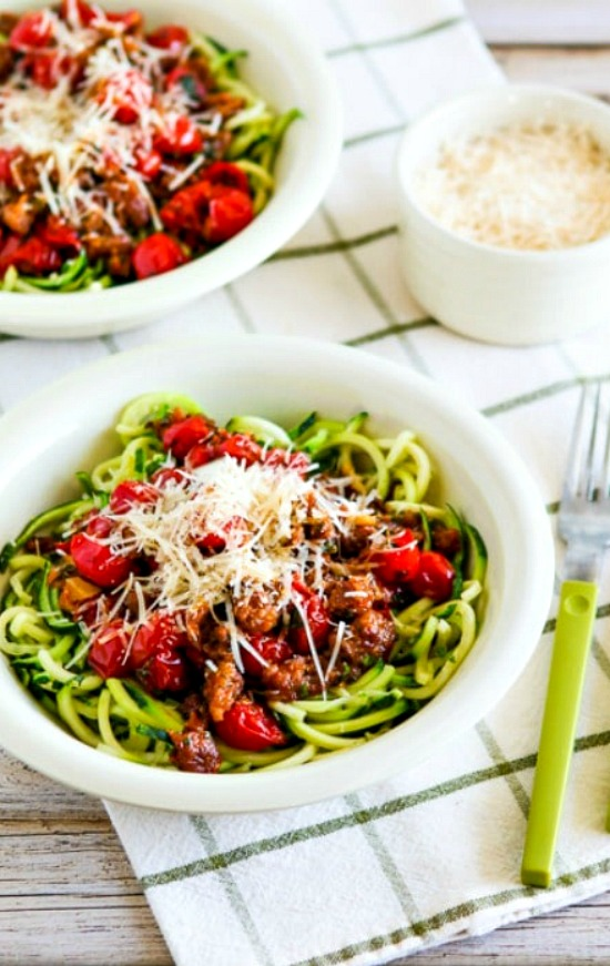 Zucchini Noodles with Spicy Cherry Tomato, Sausage, Garlic, and Herb Sauce