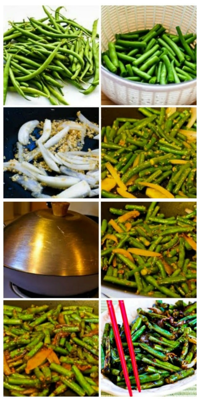 World's Easiest Garlicky Green Beans Stir Fry process shots collage