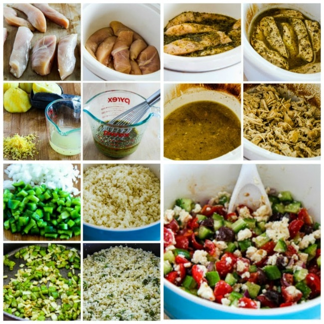 Slow Cooker Low-Carb Cauliflower Rice Greek Chicken Bowls process shots collage