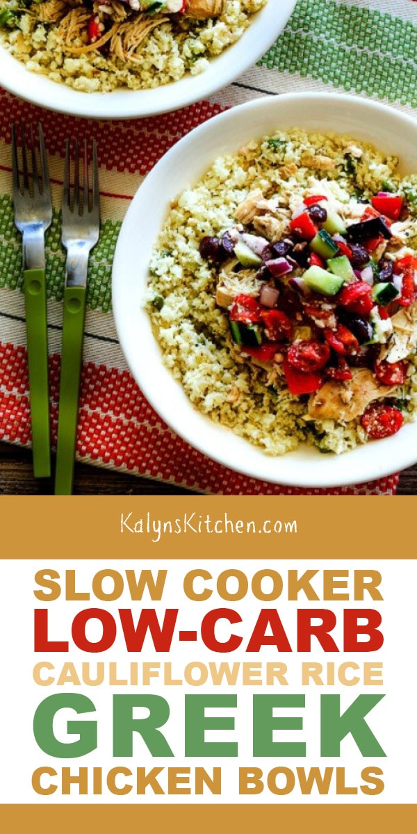 Pinterest image of Slow Cooker Low-Carb Cauliflower Rice Greek Chicken Bowls