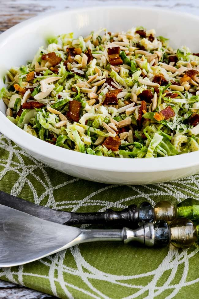 Low Carb Brussels Sprouts Salad With Bacon Almonds And