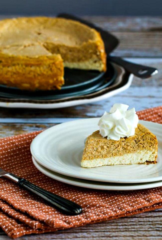 Low-Sugar or Sugar-Free Layered Pumpkin Cheesecake close-up photo
