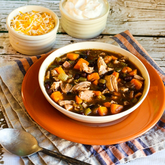Turkey, Sweet Potato, and Black Bean Soup thumbnail image of finished soup in bowl