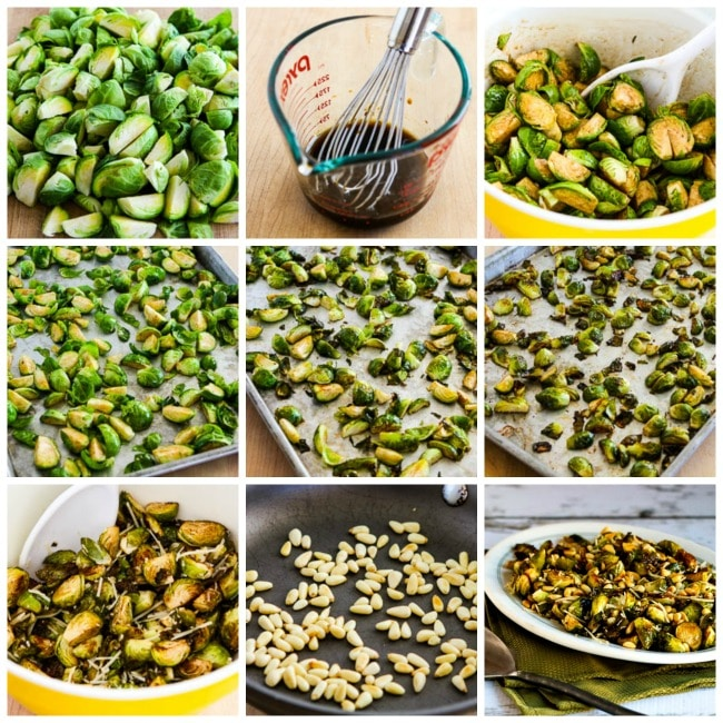 Roasted Brussels Sprouts with Balsamic, Parmesan, and Pine Nuts process shots collage