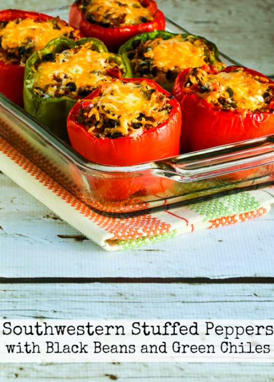 Southwestern Stuffed Peppers Recipe with Black Beans and Green Chiles [found on KalynsKitchen.com]