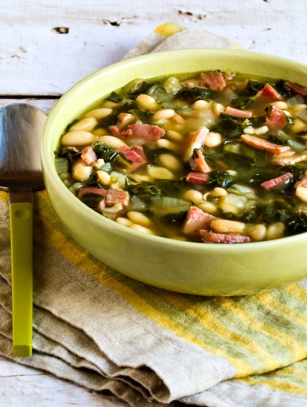 Slow Cooker Bean Soup with Ham, Spinach, and Thyme found on KalynsKitchen.com