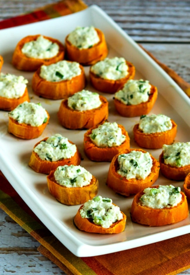 Sweet Potato Appetizer Bites with Feta and Green Onion close-up photo