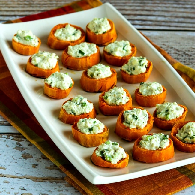 thumbnail photo for Sweet Potato Appetizer Bites with Feta and Green Onion