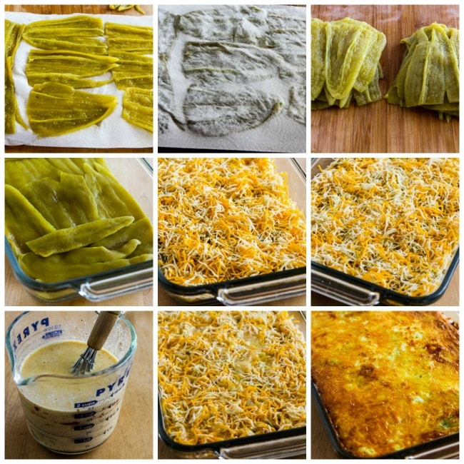 Low-Carb Vegetarian Chile Rellenos Bake process shots collage