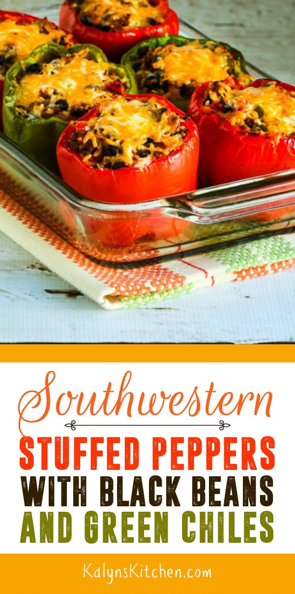 Pinterest image of Southwestern Stuffed Peppers with Black Beans and Green Chiles