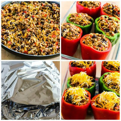 Southwestern Stuffed Peppers Recipe with Black Beans and Green Chiles found on KalynsKitchen.com