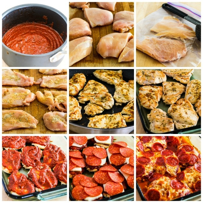 Low-Carb Pepperoni Pizza Chicken Bake process shots collage
