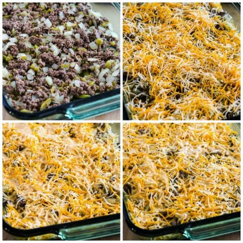 Beefy and Cheesy Low-Carb Green Chile Bake found on KalynsKitchen.com