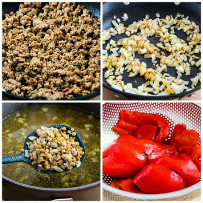 Lentil Soup with Italian Sausage and Roasted Red Peppers found on KalynsKitchen.com