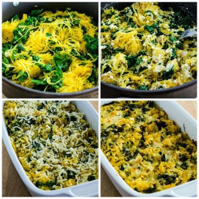 Twice-Baked Spaghetti Squash with Kale, Feta, and Mozzarella found on KalynsKitchen.com