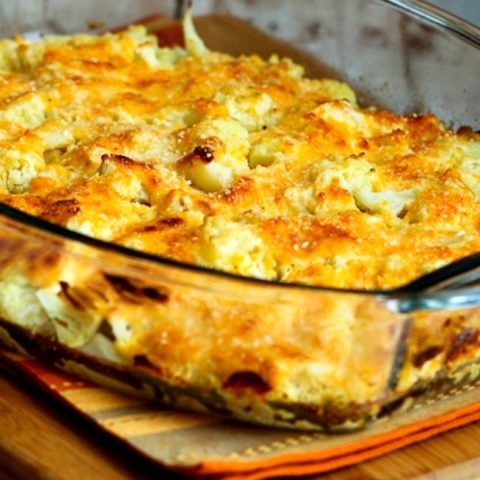Low-Carb Cauliflower Gratin with Sharp Cheddar and Parmesan