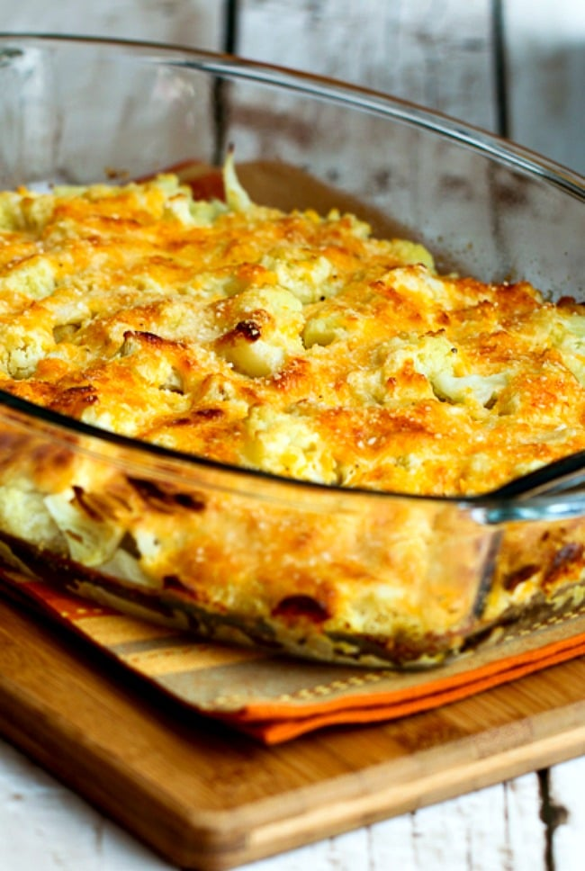Low-Carb Cauliflower Gratin with Sharp Cheddar and Parmesan close-up photo