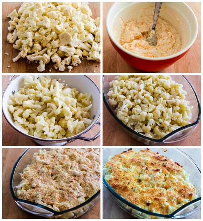 Low-Carb Cauliflower Gratin with Sharp Cheddar and Parmesan process shots collage