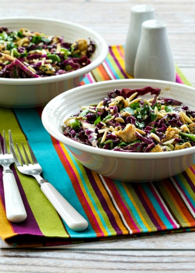Red Cabbage and Chicken Asian Salad with Tangy Cilantro Dressing
