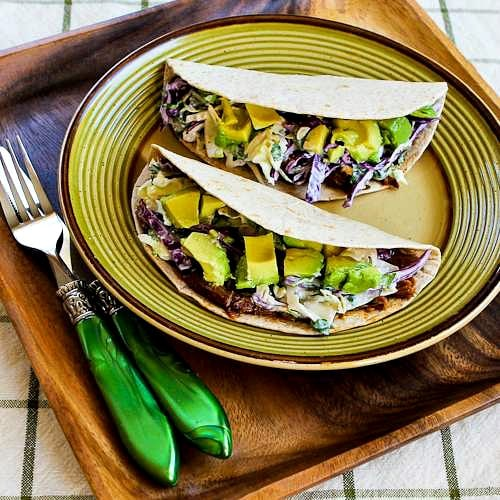Slow Cooker Shredded Beef Tacos with Spicy Slaw and Avocado found on KalynsKitchen.com