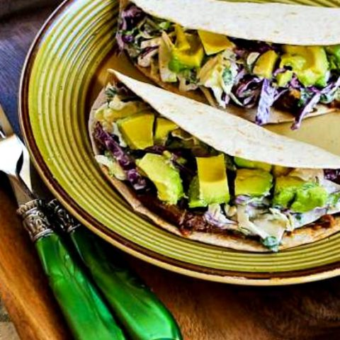 Shredded Beef Tacos with Spicy Slaw and Avocado