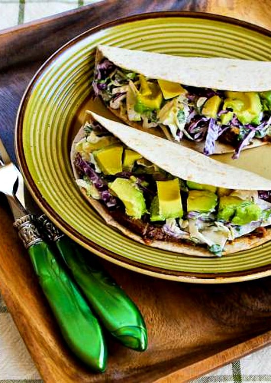 Slow Cooker or Pressure Cooker Shredded Beef Tacos with Spicy Slaw and Avocado found on KalynsKitchen.com