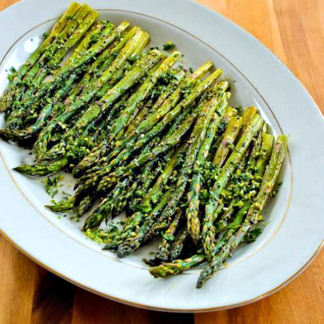 Roasted Asparagus with Gremolata finished dish on plate