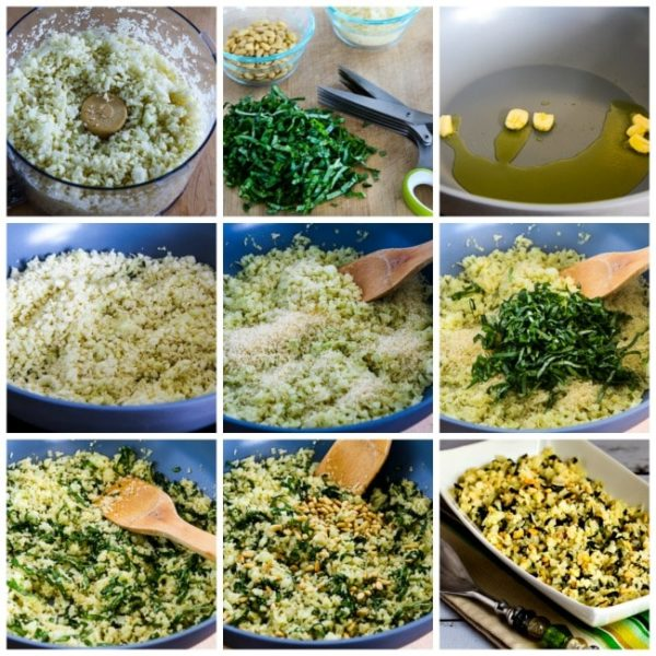 Cauliflower Rice with Basil, Parmesan, and Pine Nuts found on KalynsKitchen.com