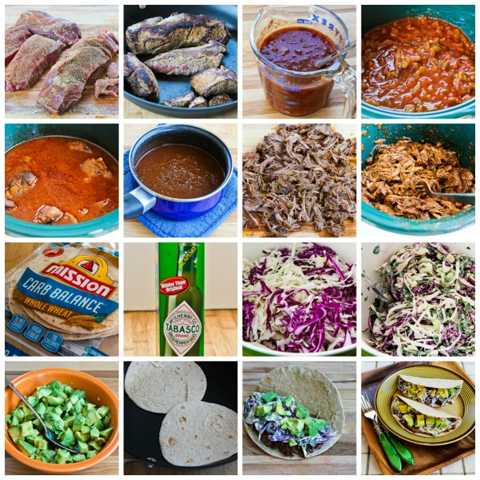 Shredded Beef Tacos with Spicy Slaw and Avocado process shots collage