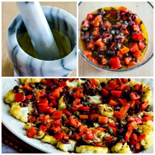 Low-Carb Roasted Cauliflower Slices with Red Pepper, Capers, Lemon, and Olives found on KalynsKitchen.com