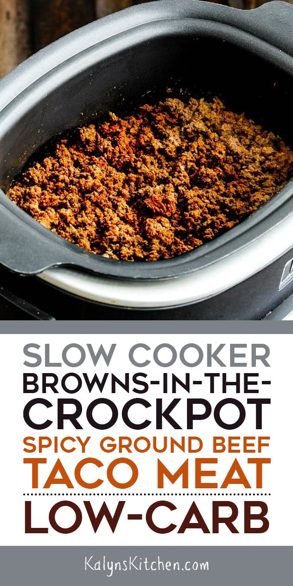 Pinterest image of Slow Cooker Browns-in-the-Crockpot Spicy Ground Beef Taco Meat