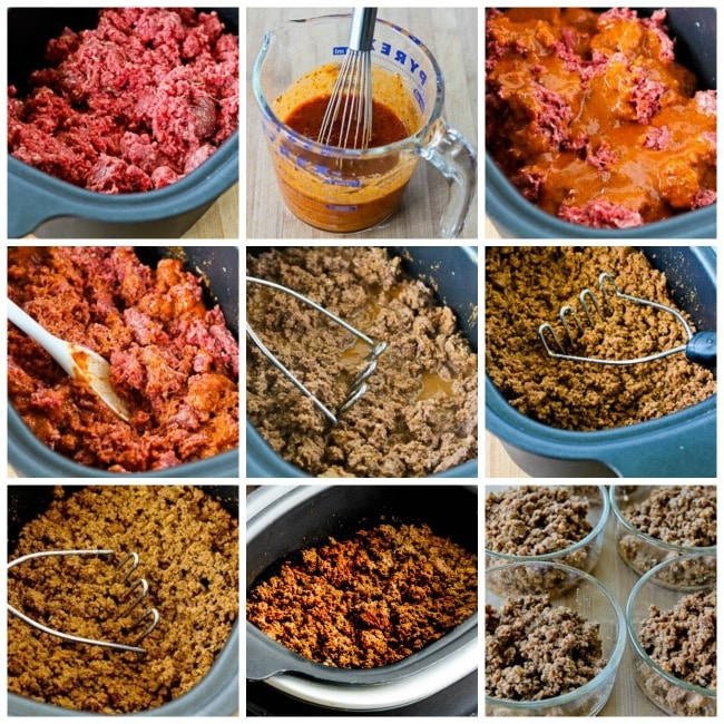 Slow Cooker Taco Meat process shots collage