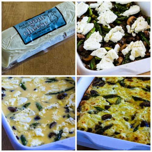 Low-Carb and Gluten-Free Breakfast Casserole with Asparagus, Mushrooms, and Goat Cheese (found on KalynsKitchen.com)