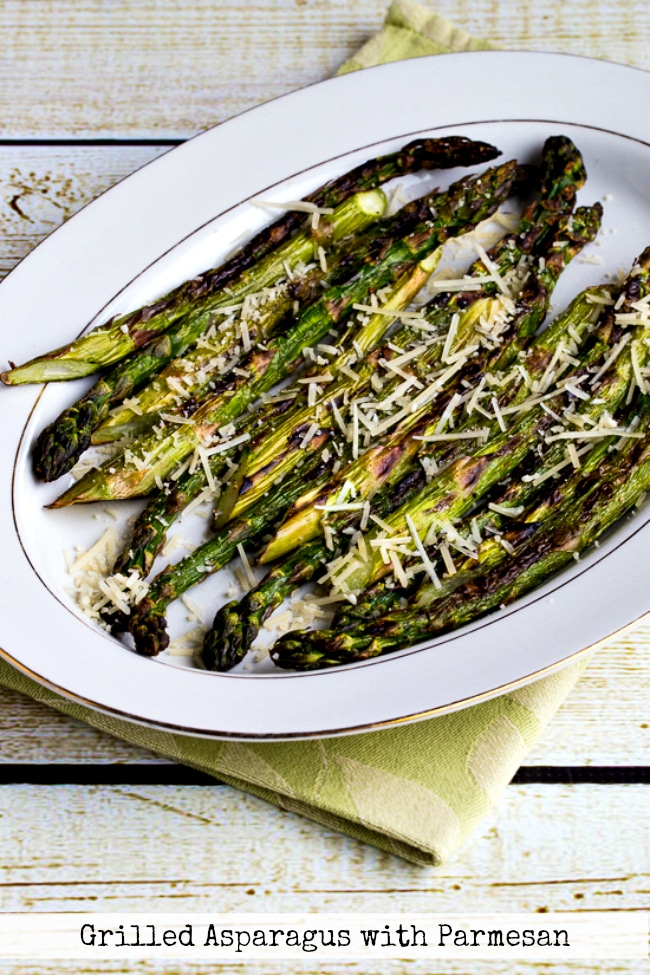 Top Photo Grilled Asparagus with Parmesan found on KalynsKitchen.com