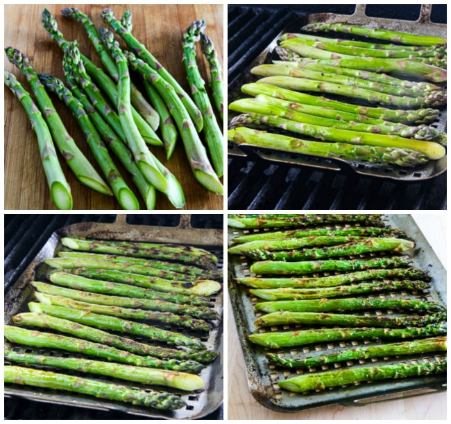 Steps for cooking Grilled Asparagus with Parmesan found on KalynsKitchen.com