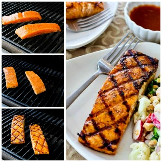 Grilled Salmon with a glaze of sugar-free maple syrup, Sriracha, and lime juice found on KalynsKitchen.com