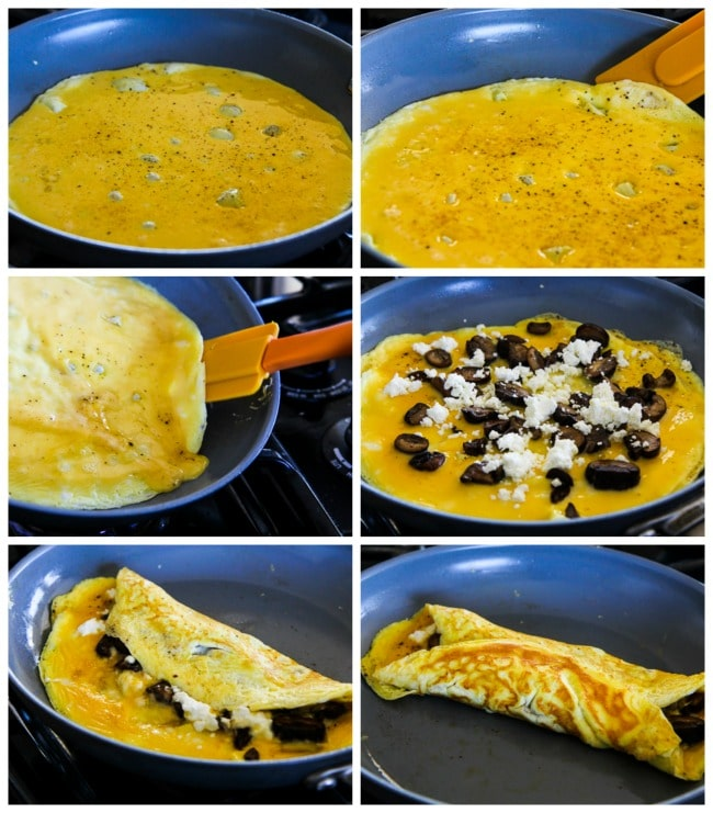 Collage photo of steps for cooking an omelet